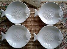4 Ceramic Sand Fish Shaped Plates Sauce Bowls Soap Trinket Dishes BLUE SKY 2007