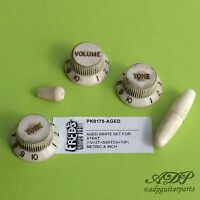 Set Boutons Blanc Relic Stratocaster  Knobs & Tips Us & Metric size Aged White
