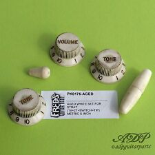 SET BOUTONS BLANCS RELIC STRATOCASTER KNOBS & TIPS US & Metric size AGED WHITE