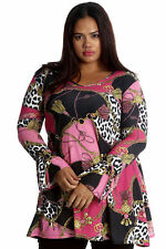 New Ladies Plus Size Top Womens Tunic Abstract Animal Print Tie V Neck Nouvelle