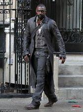 Men's Idris Elba Dark Tower Black Vintage distressed Real Leather Trench Coat