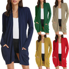 Womens Long Sleeve Solid Color Knitted Open Front Cardigans Sweater Outwear Tops