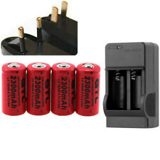 4x16340 2300mAh CR123A Rechargeable Li-ion Battery 3.7V For LED Flashlight Laser