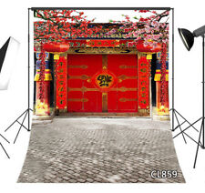Chinese Style New Year Gate Decor Flowers Vinyl Studio Backdrop Background 5x7FT