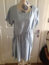 Ayva Stunning Duck Egg Blue Linen Dress One Size 12/16