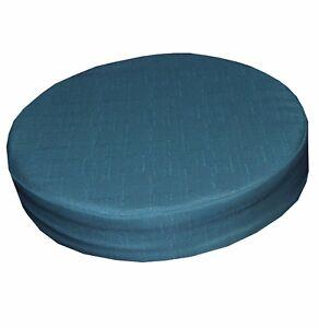 Qh04r Antique Blue Thick Cotton Blend 3D Round Seat Cushion Cover Custom Size