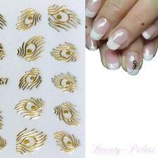 Nagel Sticker Feder Nailart Tattoo Gold Nagelaufkleber goldene Feder XF6057
