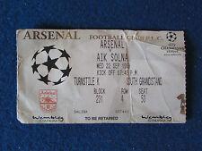 Arsenal V AEREI DI LINEA SOLNA - 22/9/99 - CHAMPIONS LEAGUE TICKET