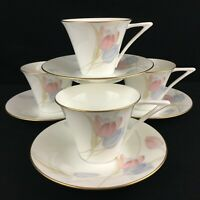 Set of 4 VTG Cups and Saucers Mikasa Swiss Garden Bone China Floral CR009 Japan
