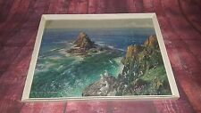 Vintage Vernon Ward Painting Print Seascape Cornwall Classic 1950's 1960's