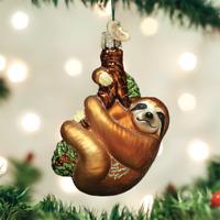 OLD WORLD CHRISTMAS SLOTH TREE-HUGGER GLASS CHRISTMAS ORNAMENT 12523