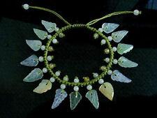 Adjustable Hand-knotted 15 Jadeite Jade Leaf Dangle Beaded Bracelet