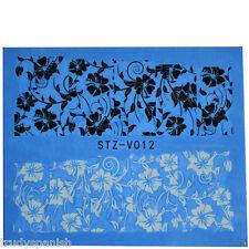 Manicura Transfers de Agua Adhesivos Blanco Negro flores esmalte en gel (stzv12)
