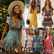 UK Women Wrap Summer Boho Floral Paisley Mini Sun Dress Ladies Holiday Beach