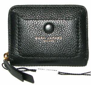 MARC JACOBS Black Leather Zip-Around Mini Wallet NWT