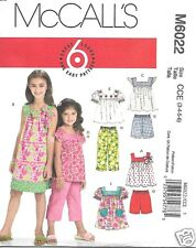 M6022 Children's Tops Dress Shorts Pants Size 3-6 MCCalls Sewing Pattern