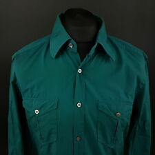 HUGO BOSS Mens Shirt LARGE Long Sleeve Green SLIM FIT No Pattern Cotton