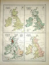 1891 MAP ~ BRITAIN ~ DENSITY POPULATION RIVER BASINS RAINFALL LEADING PRODUCTS