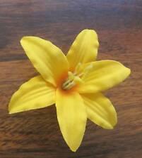 """3 1/2"""" Canary Yellow Lily Silk Flower Hair Clip,Dance,Bridal,Luau,Prom,Wedding"""