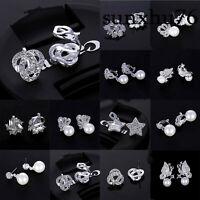 Girls Women Stud Ear Clip Anti Allergy Clip On Silver Gem Gift Women Jewelry