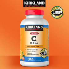 Kirkland Vitamin C 500mg Chewable Tablets, Tangy Orange - 500 Count (NEW!!!)