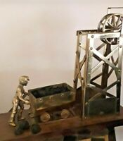 Large Vintage Brass Coal-Mining Diorama in Good Condition - with real coal!! VGC