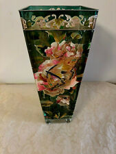 "Amia 10"" Hand Painted Butterfly & Floral Tapered Square Vase"