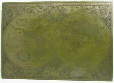 "Engraved Brass Plate Map Nova Totius Terrarum Orbis Hondio 20.75"" x 14.5"" Totivs"