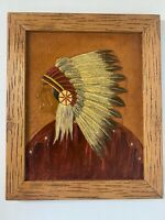 Vintage Leather Scene Hand Tooled Chief Head Framed Picture Steve Brown