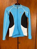 Louis Garneau Long Sleeve Cycling Jersey Full Zip Blue/Black/White Size S