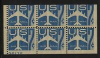1958 Airmail Sc C51a booklet pane MNH fresh 55% plate number 26175