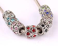 10pcs mix LAMPWORK CZ big hole spacer beads fit Charm European Bracelet #C591