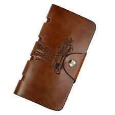 Mens Brown Vintage Bifold Wallet ID Card Holder Clutch PU Leather Long Purse Bag