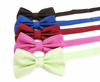 MENS CHECK PINK BLUE RED GREEN BOW TIE SILK PRE-TIED MEN'S BOWTIE WEDDING FORMAL