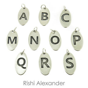 925 Sterling Silver Oval Alphabet Letters A-Z Tag Charms Made in USA
