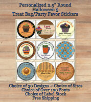 """12 HALLOWEEN FALL Personalized ROUND 2.5"""" Treat Bag Stickers 5 Kids Sunflowers"""