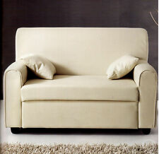 divano 2 posti IMBOTTITO ecopelle pelle beige con 2 cuscini salotto made italy