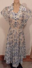 40s White Sheer Voile? Day Dress w/ Blue Flowers & Glass Buttons