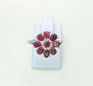 Ruby Gemstone Cluster Ring, Size Q, US 8.25, Sterling Silver