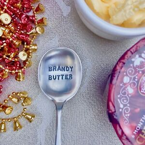 Brandy Butter Spoon - Antique Hand Stamped Silver Plated Spoon Gift