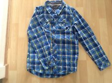 Boys Aged 11-12 Years Blue  / Yellow Check Shirt By Cherokee