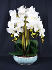 Large Artificial Phalaenopsis Orchid Plants with Porcelain Pot [White]