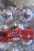 Addobbi Natale 15 sfere palline palle varie misure argento albero di Natale