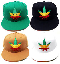 MARIJUANA WEED LEAF RASTA LOGO SNAPBACK HAT CAP ADJUSTABLE FLAT BILL  EMBROIDERED 14c3ad24aa0f