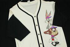 Vintage 90s Looney Tones Baseball Jersey Shirt Warner Bros White Mens M