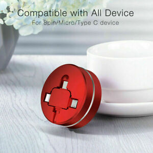 3 in 1 Retractable Charging Sync USB Cable 8 Pin Type C Micro For iPhone Samsung