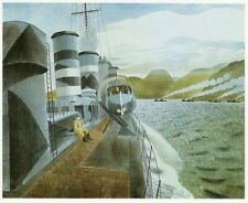 Leaving Scapa Flow, Eric Ravilious WWII vintage print 1983 ready mounted SUPERB