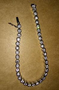 Bezel Set CZ Tennis Bracelet, 14k Gold Plated over 925 Sterling Silver