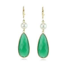 14k Oro Amarillo Piedra Preciosa Pendientes con Perlas y verde ONIX