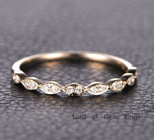 Matching Ring Pave Diamonds Engagement Promise Curved Band 14K Yellow Gold 6#